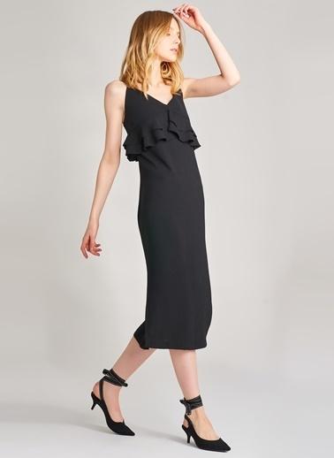 Agenda Yırtmaç Detaylı Elbise Siyah